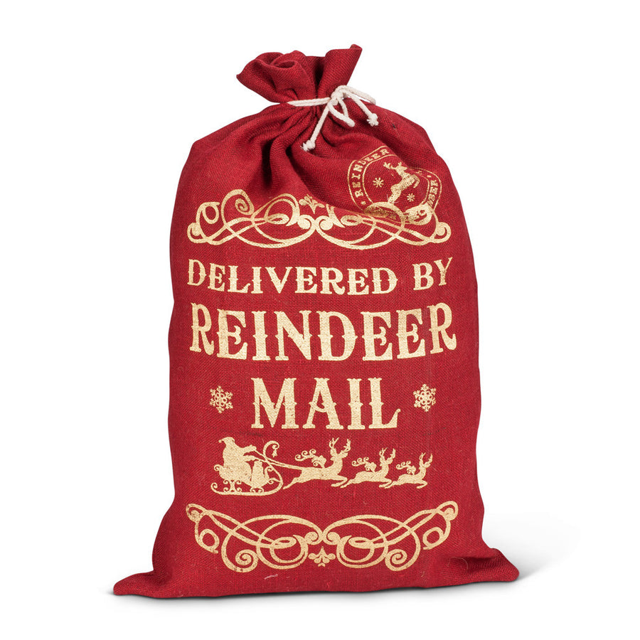 """Reindeer Mail"" Red Burlap Gift Sack - Large -  Christmas - AC-Abbot Collection - Putti Fine Furnishings Toronto Canada"
