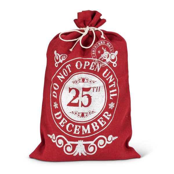 """Do not Open Until 25th December"" Red Burlap Gift Sack - Large -  Christmas - Abbot Collection - Putti Fine Furnishings Toronto Canada"