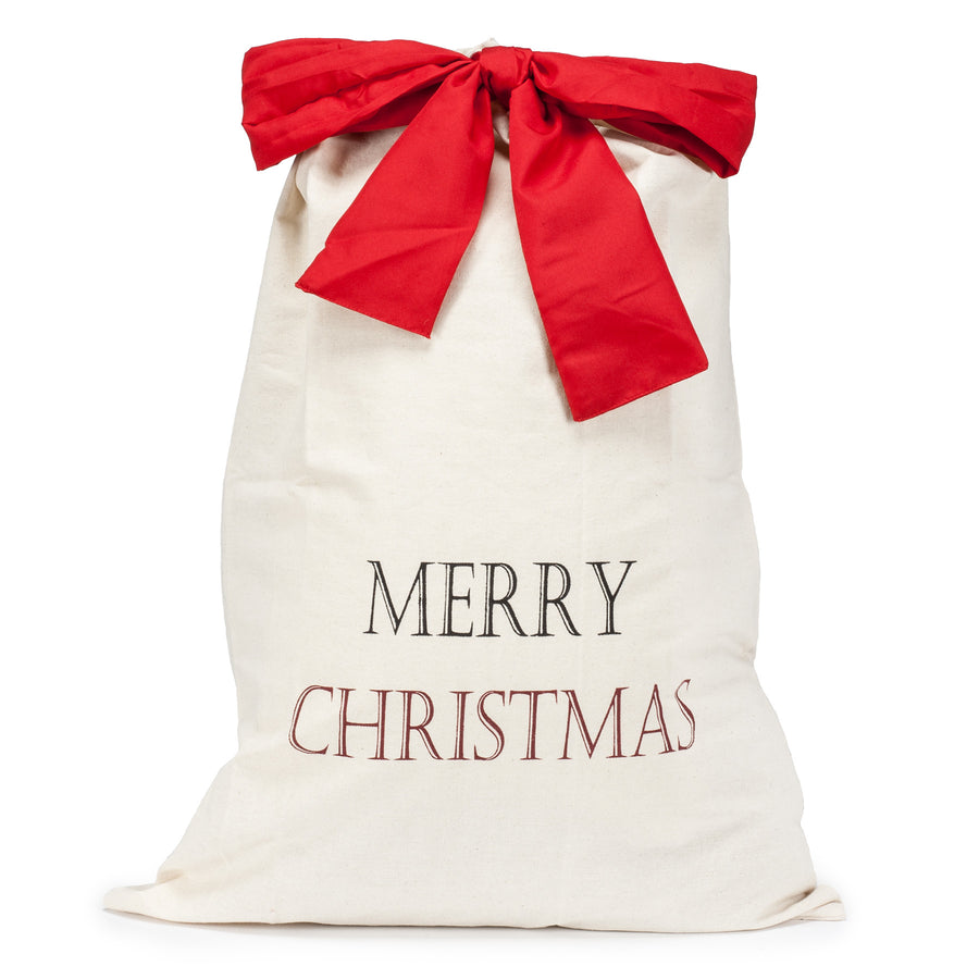 """Merry Christmas"" Canvas Gift Sack - Large"