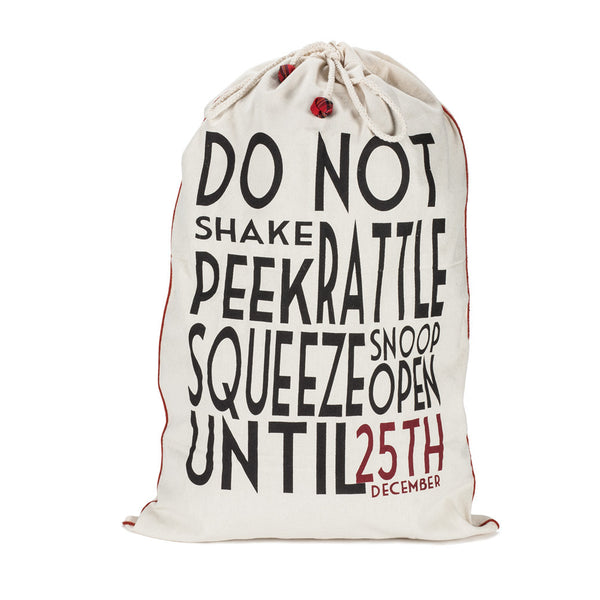 """Do Not Shake..."" Canvas Gift Sack - Large -  Christmas - Abbot Collection - Putti Fine Furnishings Toronto Canada"