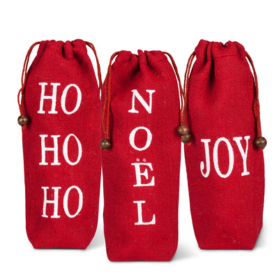Red Word Wine Bags -  Christmas - AC-Abbott Collection - Putti Fine Furnishings Toronto Canada - 1