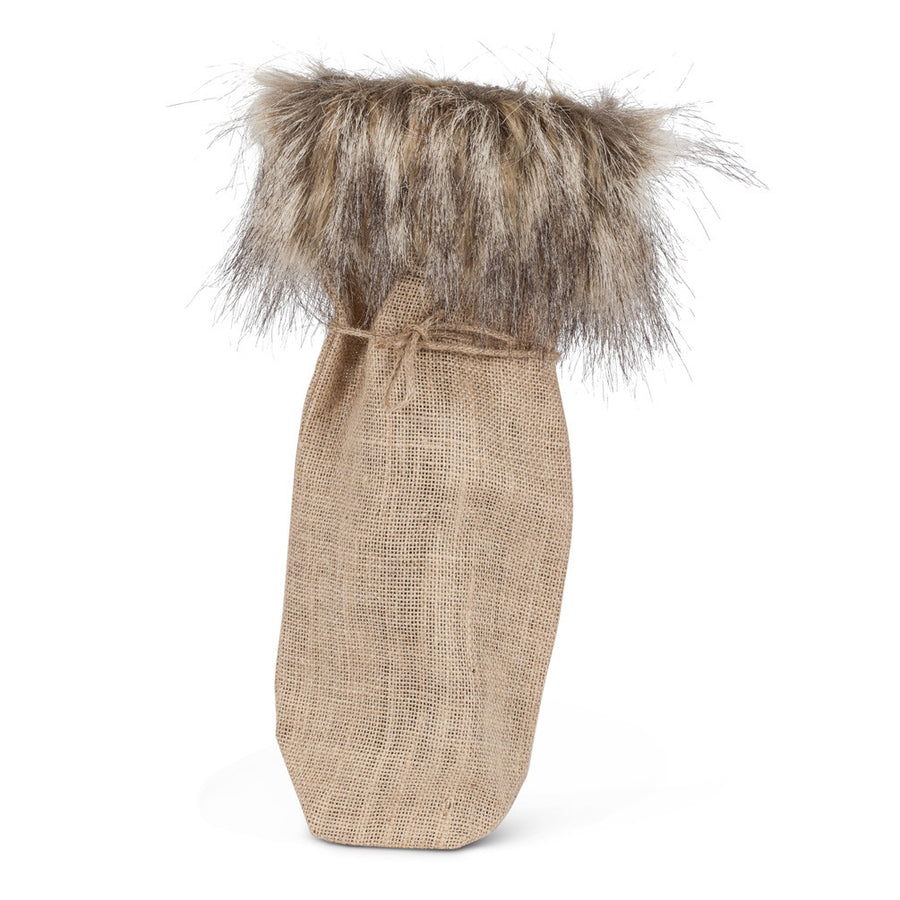 Natural Wine Bag with Fur Trim