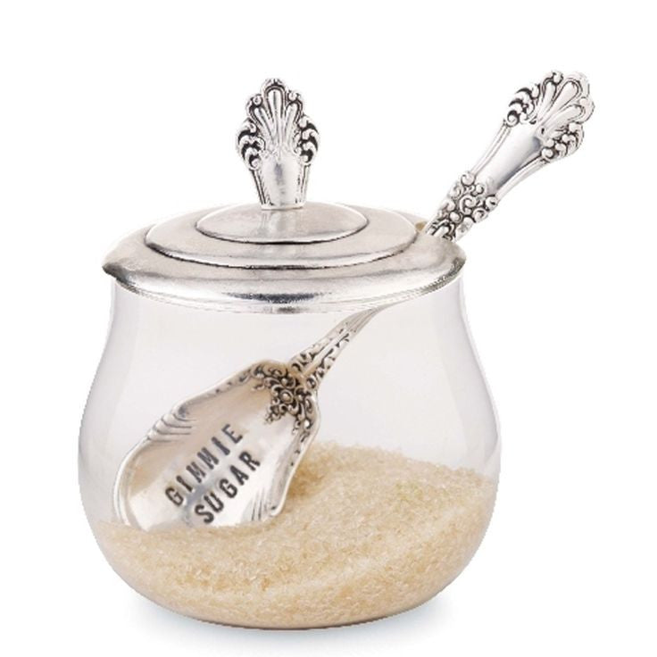 """Gimme Sugar"" Sugar Bowl and Spoon, MP-Mud Pie, Putti Fine Furnishings"