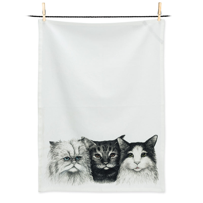 """Three Cats"" Tea Towel 