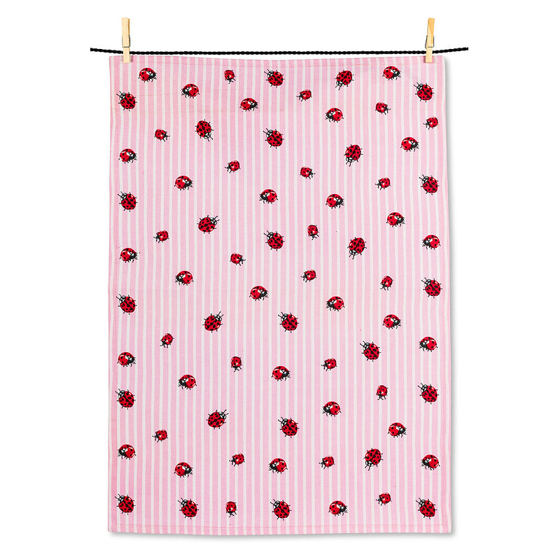 Ladybugs on Stripes Tea Towel | Putti Fine Furnishings