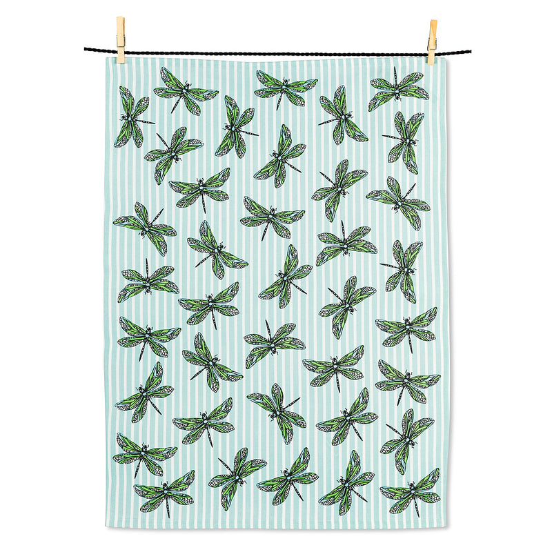 Dragonflies on Stripes Tea Towel | Putti Fine Furnishings