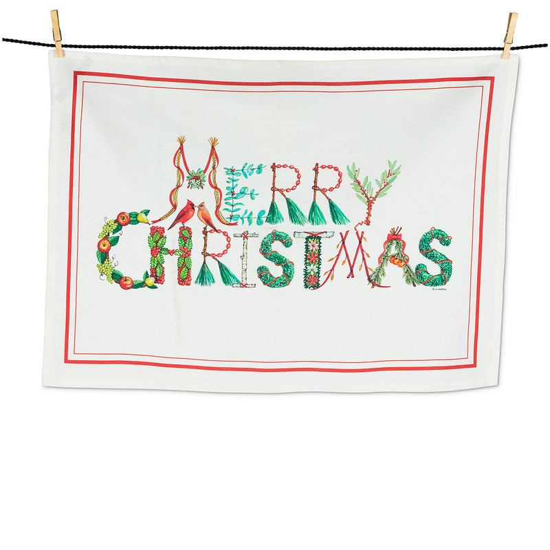 White Embroidered MERRY CHRISTMAS on Burgundy Kitchen Towel