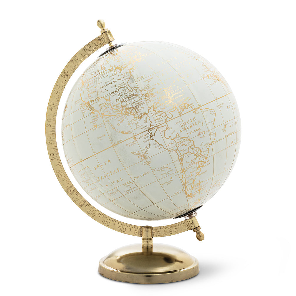 Globe on Stand - Ivory & Gold
