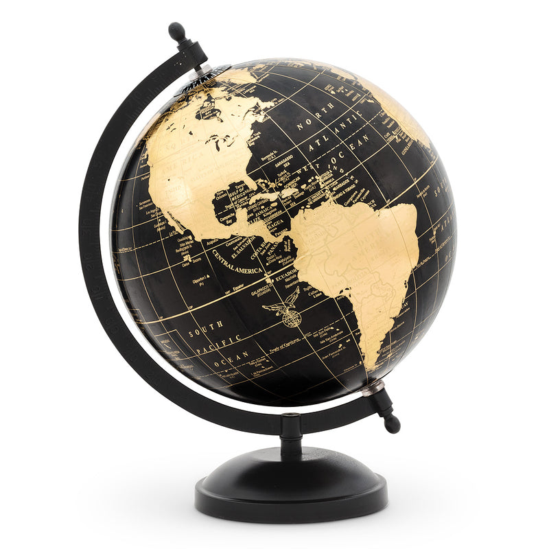 Globe on Stand - Black & Gold