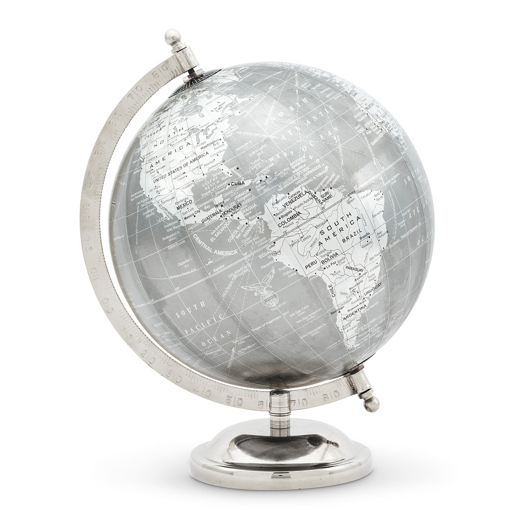 Globe on Stand - Silver | Putti Fine Furnishings Canada