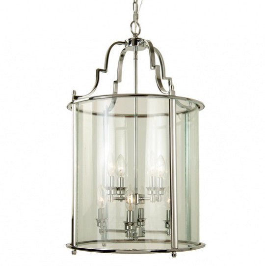 Large Chrome Lantern -  Ceiling Fixture - Bethel - Putti Fine Furnishings Toronto Canada
