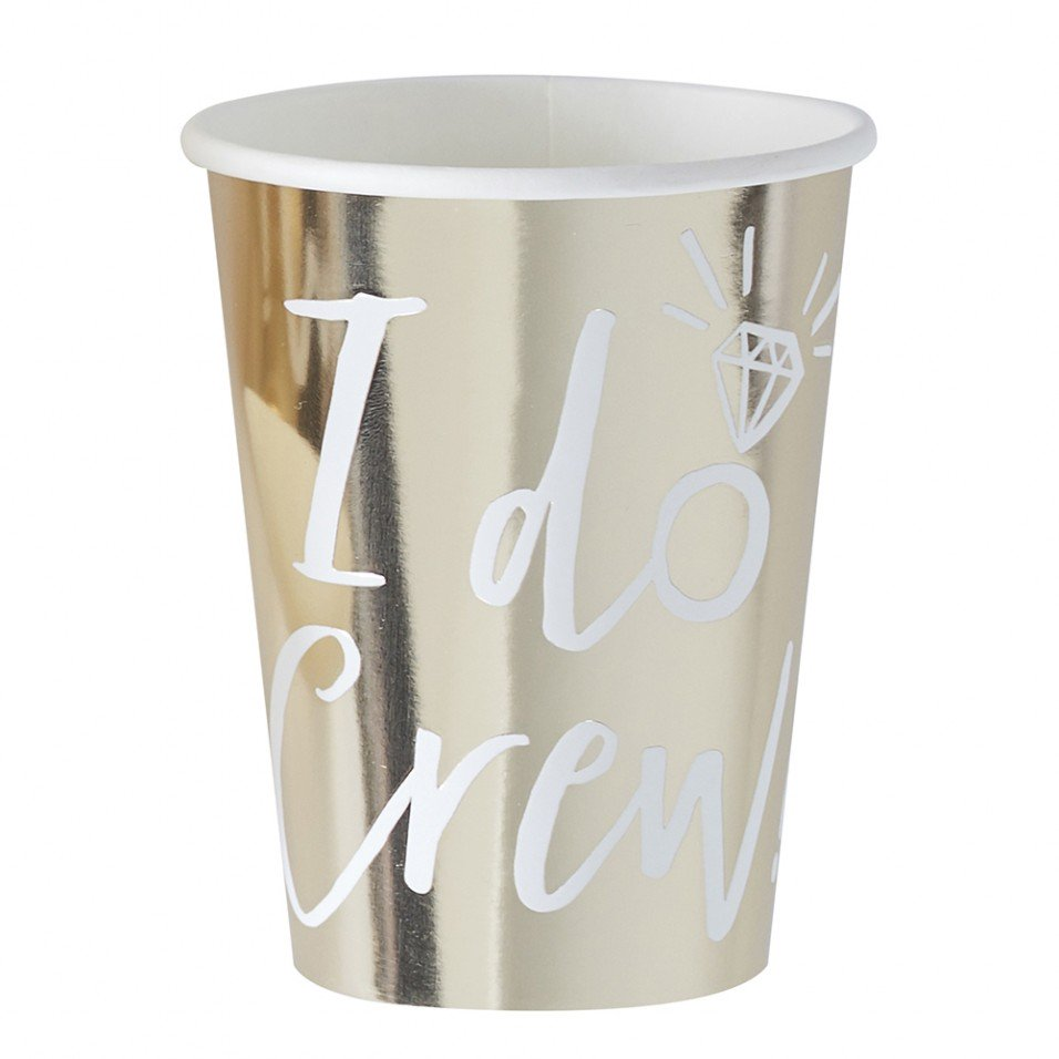 """I Do Crew"" Gold Foil Paper Cups, GR-Ginger Ray UK, Putti Fine Furnishings"