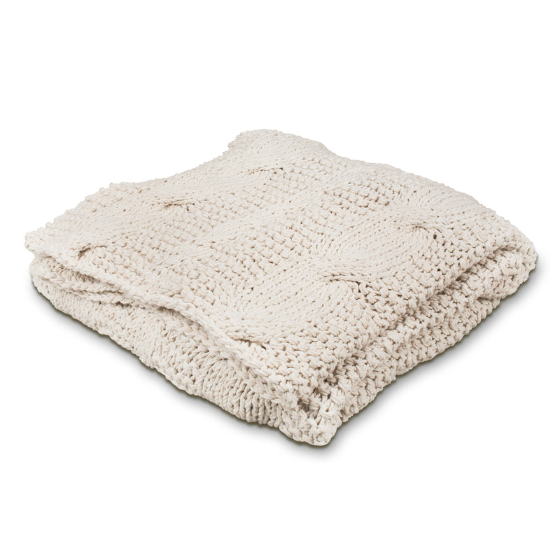 Cable Knit Throw - Cream, AC-Abbott Collection, Putti Fine Furnishings