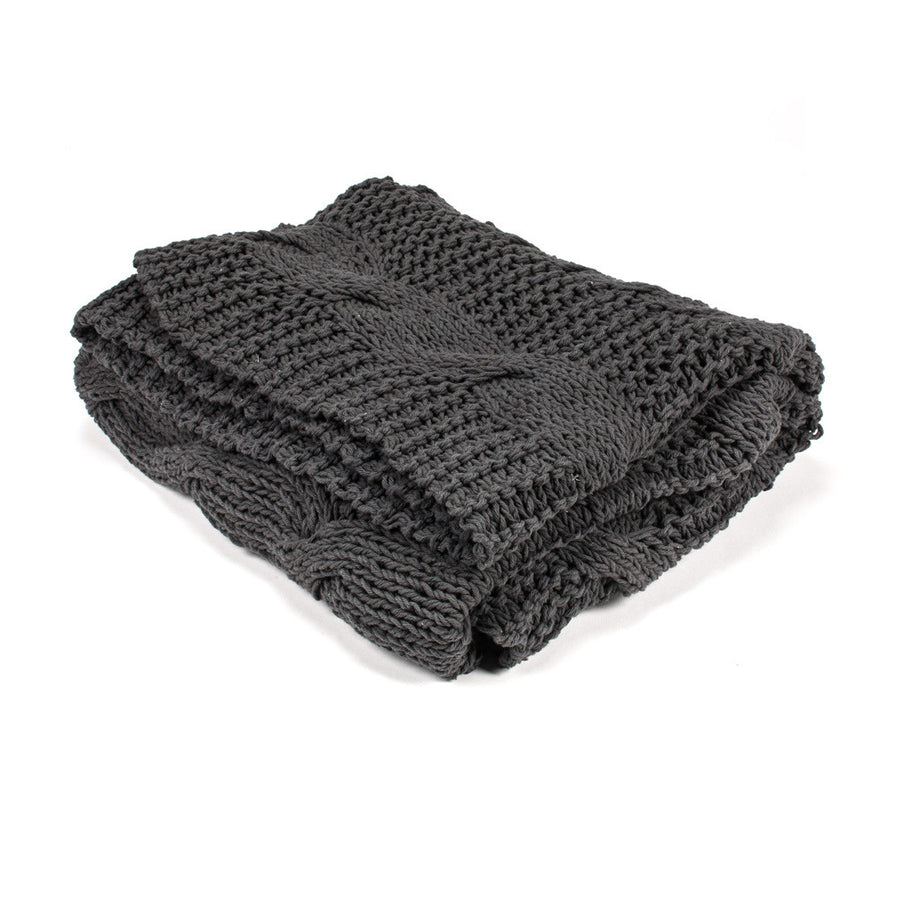 Cable Knit Throw - Grey