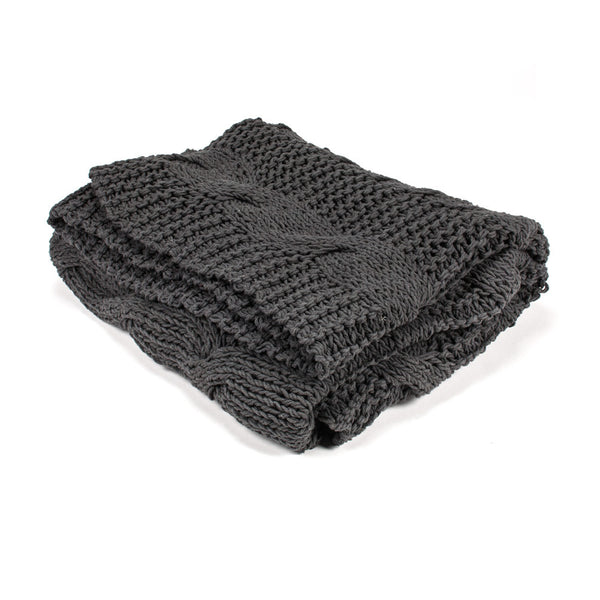Cable Knit Throw - Grey-Soft Furnishings-AC-Abbott Collection-Putti Fine Furnishings
