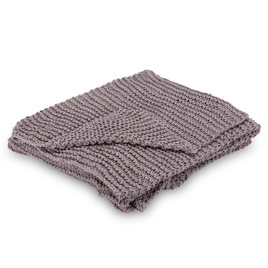 Cross Knit Throw - Lilac