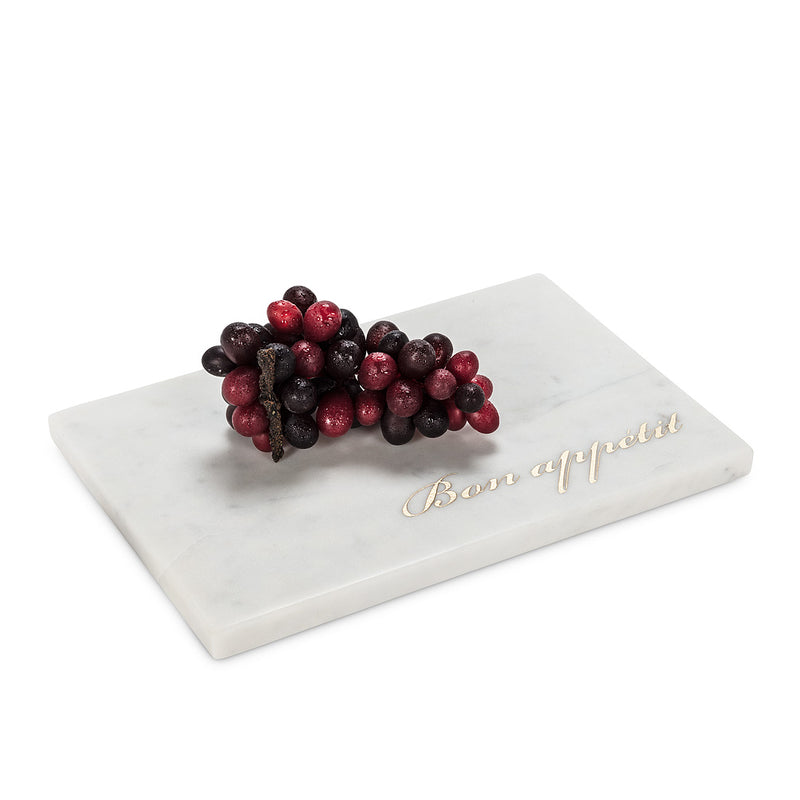 """Bon Appetit"" White Marble Serving Board"