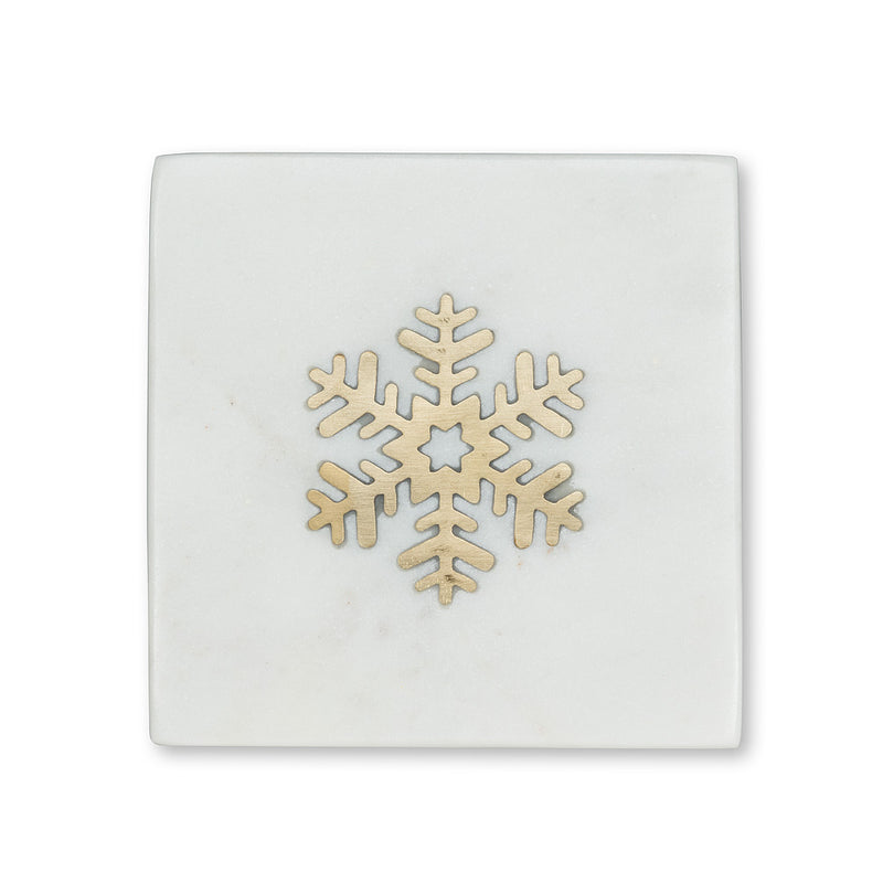 Square Snowflake Wine Coaster - set of 4