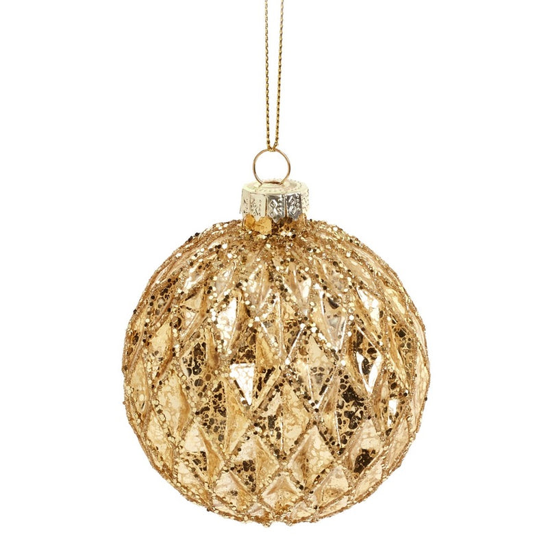 Gold Honeycomb Glass Ball Ornament | Putti Christmas Decorations