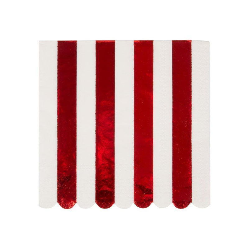 Meri Meri Red Stripe Foil Paper Napkin Small | Putti Christmas Canada