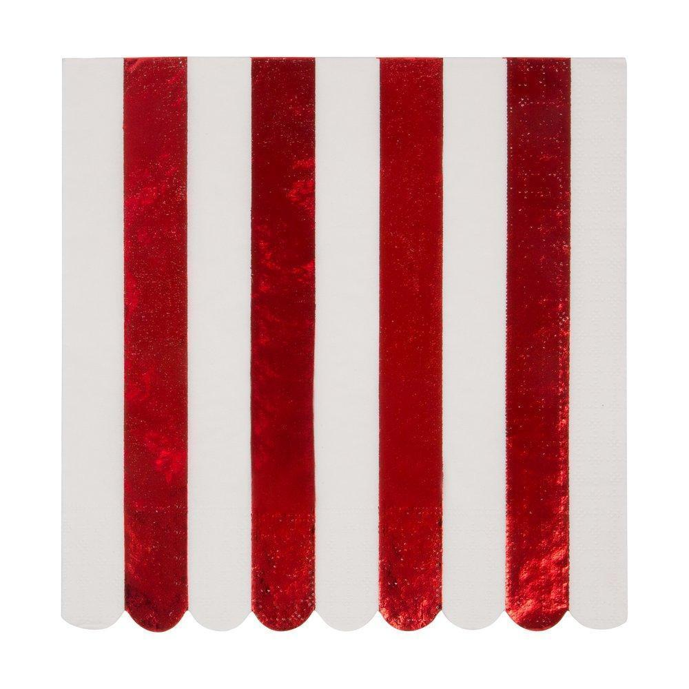 Meri Meri Red Foil Stripe Paper Napkins - Large