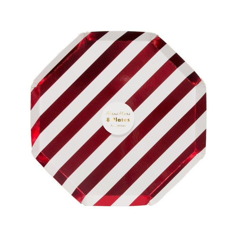 Meri Meri Red Foil Stripe Paper Plate - Small