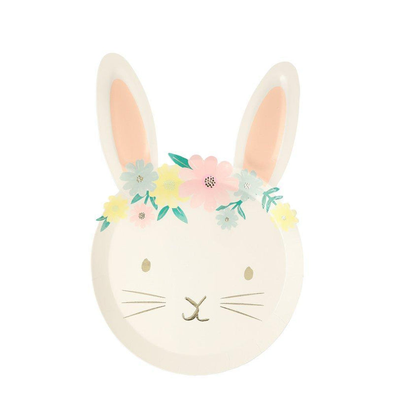 Meri Meri Floral Bunny Die Cut Paper Plates |  Putti Party Supplies