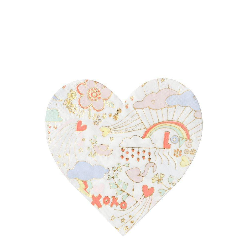Meri Meri Valentine Doodle Paper Napkins -Large | Putti Party Supplies