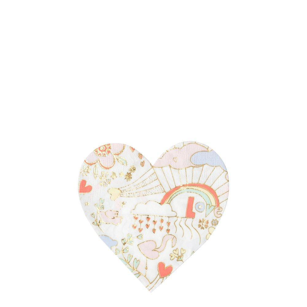 Meri Meri Valentine Doodle Paper Napkins - Small | Putti Party Supplies