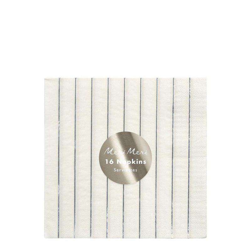 Meri Meri Silver Striped Paper Napkins - Large | Putti Christmas
