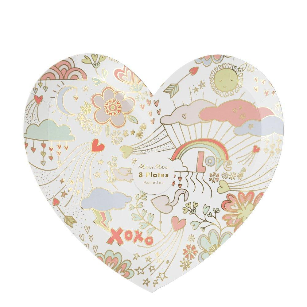 Meri Meri Valentine Doodle Paper Plates - Large | Putti Party Supplies