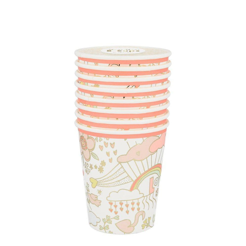 Meri Meri Valentine Doodle Paper Cups | Putti Party Supplies