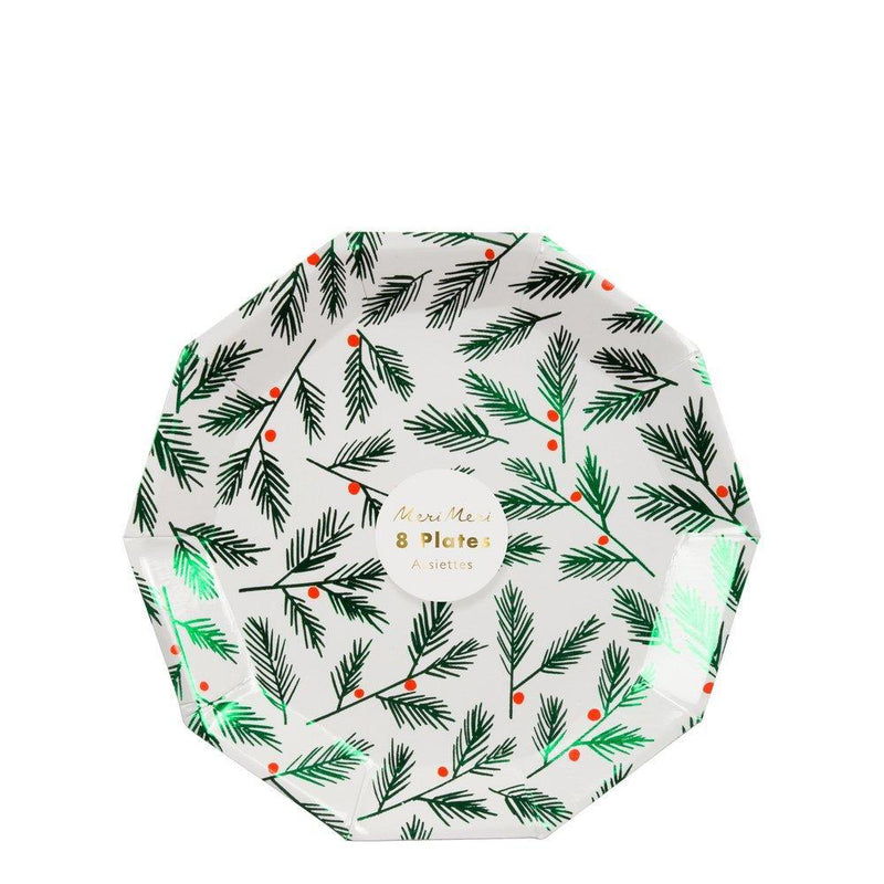 Meri Meri Festive Leaves & Berries Paper Plate - Small