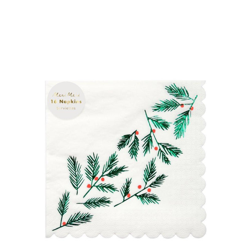 Meri Meri Festive Leaves & Berries Paper Napkins | Putti Christmas Canada