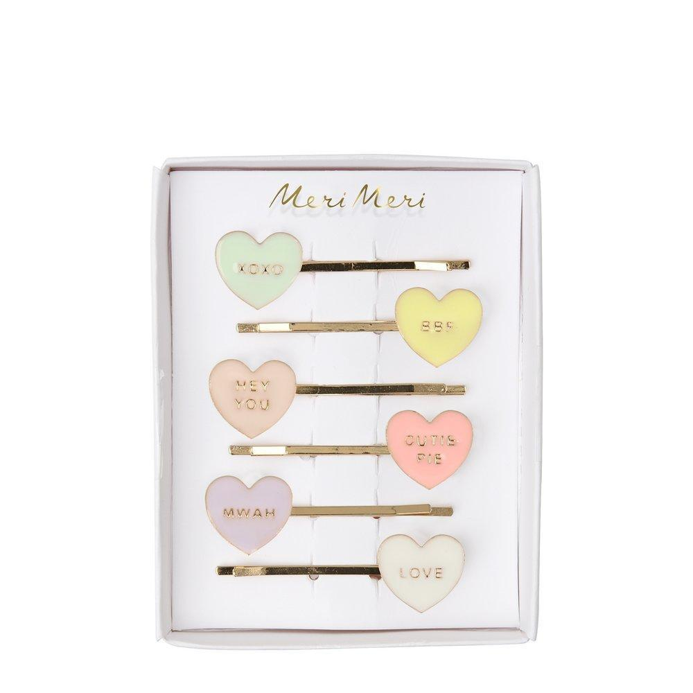 Meri Meri Love Hearts Enamel Hair Slides