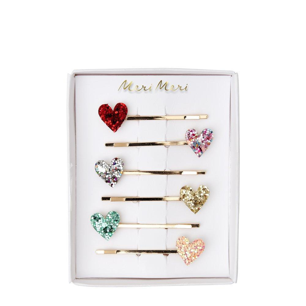 Meri Meri Glitter Heart Hair Slides | Putti Children's Hair Accessories