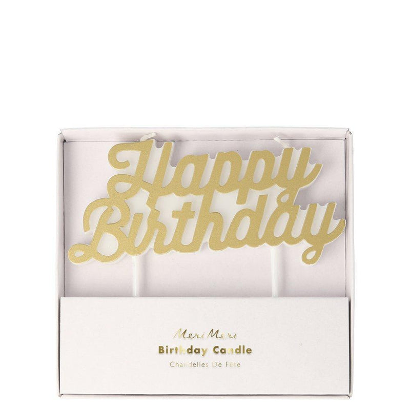 "Meri Meri Gold ""Happy Birthday"" Candles 