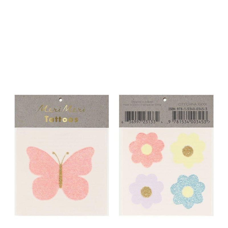 Meri Meri Floral Butterfly Glitter Tattoos | Putti Party Supplies