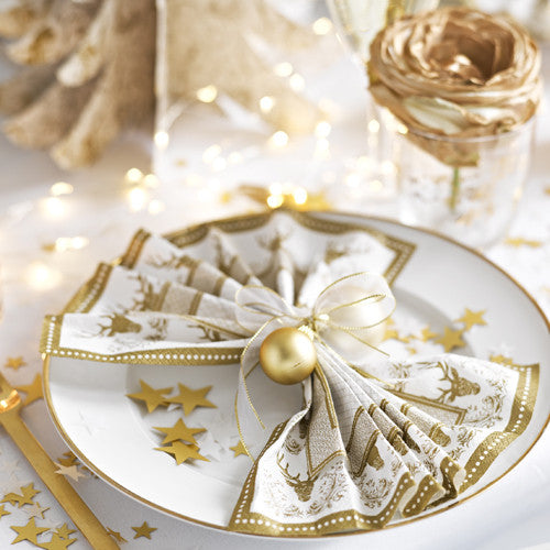 Party Porcelain Gold Stag Luncheon Napkins-Paper Napkins-TT-Talking Tables-Putti Fine Furnishings