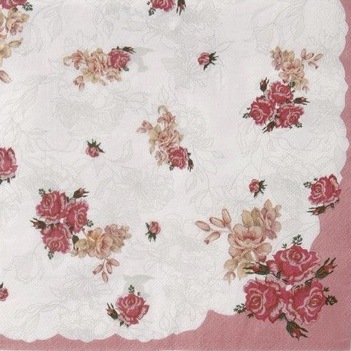 Truly Scrumptious Pink Foral Dinner Napkin -  Party Supplies - Talking Tables - Putti Fine Furnishings Toronto Canada - 1