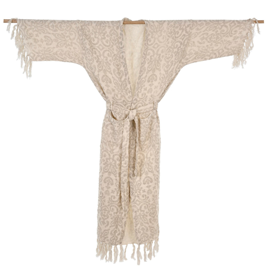 Woven Cotton Tassel Robe - Natural
