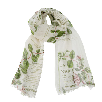 Botanical Print Linen Scarf -  Personal Accessories - Indaba Trading - Putti Fine Furnishings Toronto Canada - 1