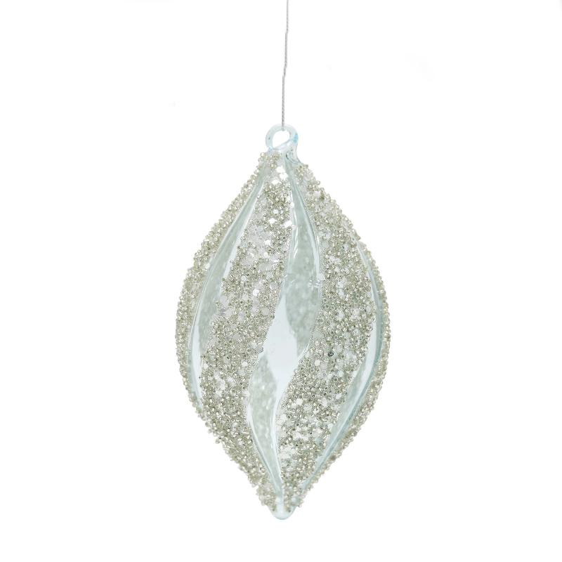 Beaded Clear and Silver Glass Double Point Ornament  | Putti Christmas Decorations