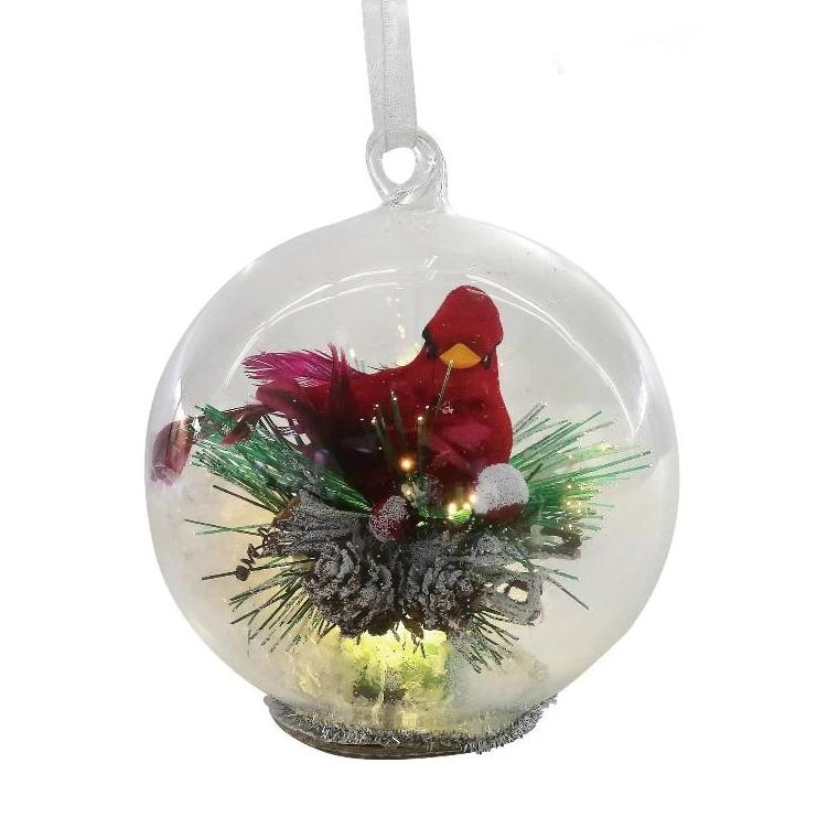 Cardinal in Glass Ball LED Ornament | Putti Christmas Decorations