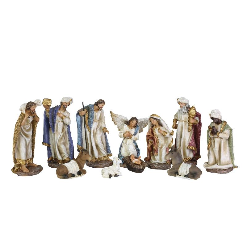 Nativity Set with Wood Creche | Putti Christmas Decorations
