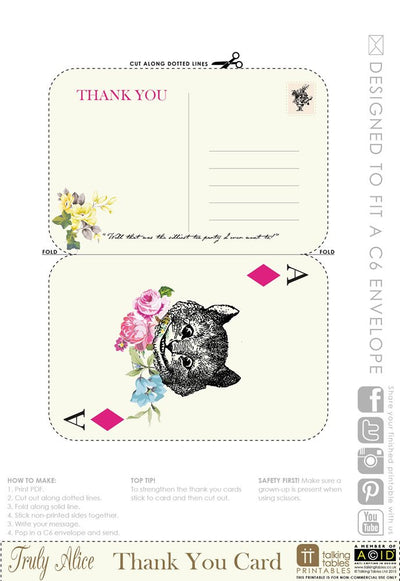 Truly Alice - Free Printable Thank You Cards, TT-Talking Tables, Putti Fine Furnishings