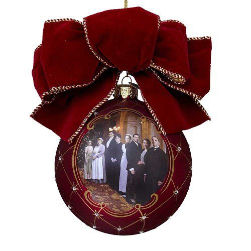 Kurt Adler Downton Abbey® Glass Ball with Bow Ornament  | Putti Christmas Decorations