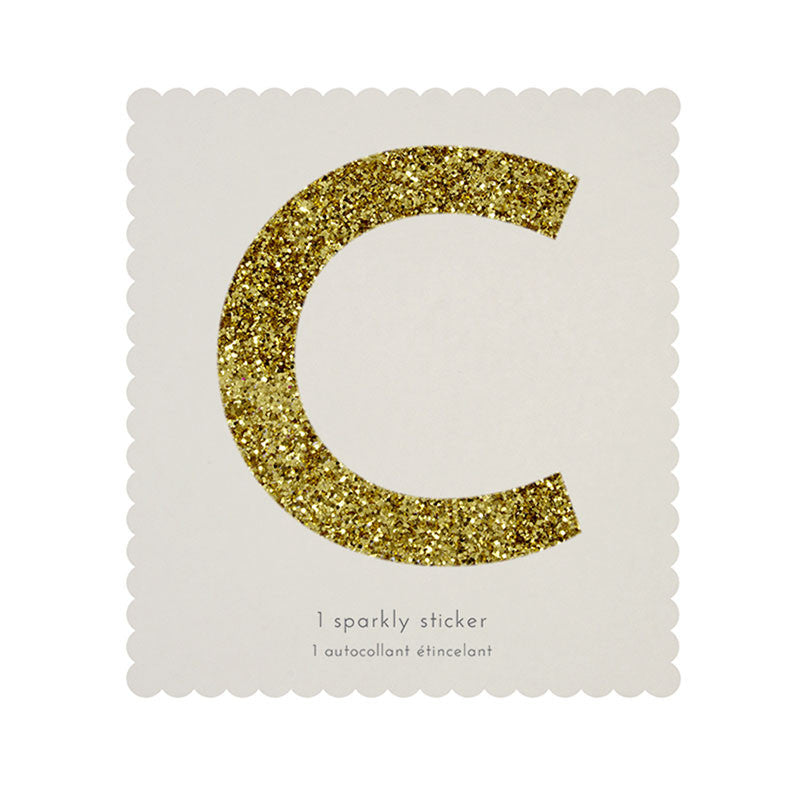Chunky Gold Glitter C Sticker -  Party Supplies - MM-Meri Meri UK - Putti Fine Furnishings Toronto Canada