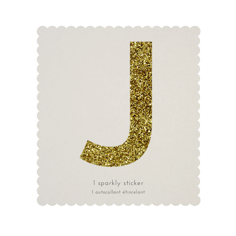 Chunky Gold Glitter J Sticker -  Party Supplies - MM-Meri Meri UK - Putti Fine Furnishings Toronto Canada