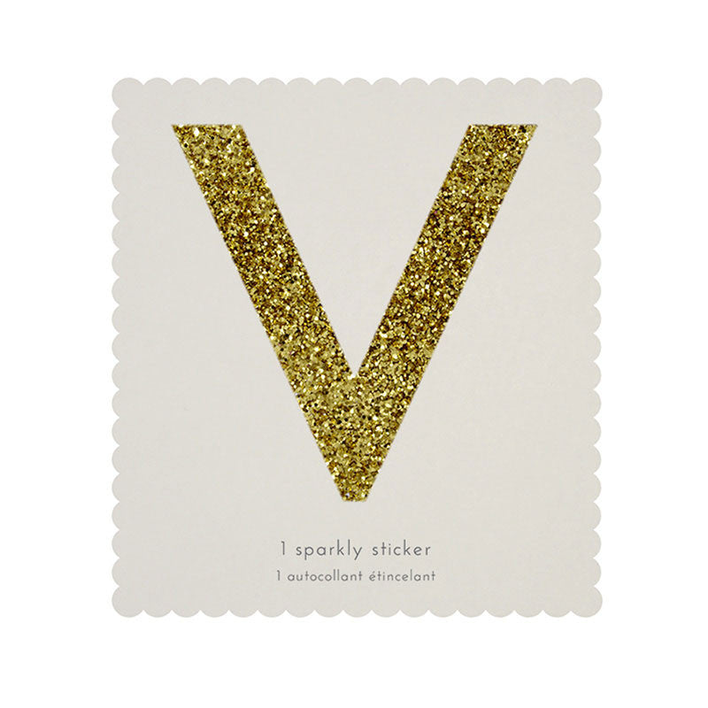Chunky Gold Glitter V Sticker -  Party Supplies - MM-Meri Meri UK - Putti Fine Furnishings Toronto Canada